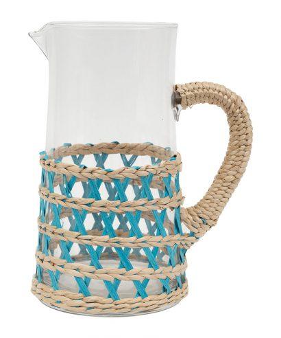 Coté Table Lacis - Karaf/schenkkan (2 liter) glas met rieten houder / TURQUOISE-0